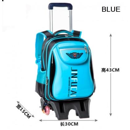 JOM KELLY 6 Wheel High Platform Primary Student Waterproof Trolley School Bag