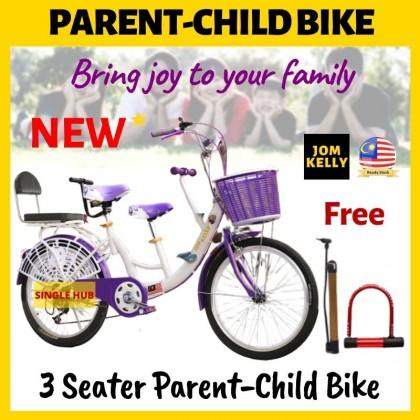 """JOM KELLY 3 Seater Parent Child Bike 22"""" Basikal Ibu Anak Basikal Family Bicycle"""