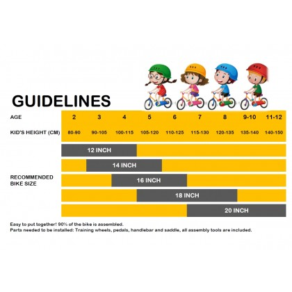 "JOM KELLY 12/16"" Kid Sport Bicycle Bike with Training Wheels 2-7 Yrs Old"