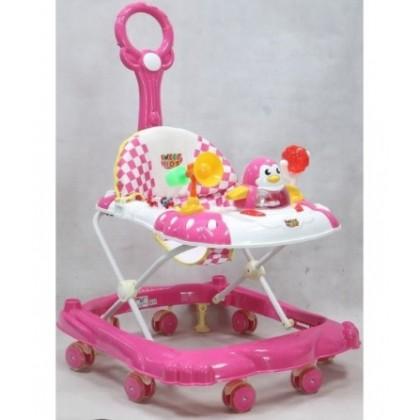 JOM KELLY 8 Wheel Baby Walker Musical Board & Stopper with Control Bar