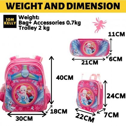 JOM KELLY 3pcs School Bag Set High Platform Thick Trolley School Bag 16 Inch Primary Grade 1- 3 School Student Boy Girl